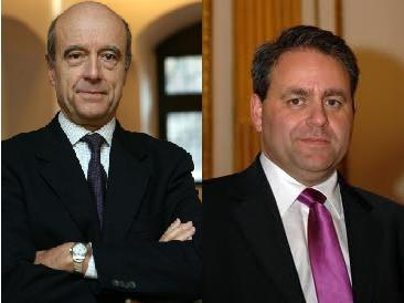 Alain Juppe (left) and Xavier Bertrand (right) have been appointed as Defense Minister and Work, Housing, and Health Minister