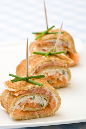 Delicious and original: their smoke salmon pancake canapes